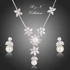 Clear Swiss Cubic Zirconia Pearl Flower Pendant Necklace & Drop Earrings S378-25