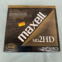"""Maxell MD 2HD 5-1/4"""" Floppy Disk Box 10 New Old Stock 5.25"""" Floppies Super RDII"""