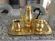 Hammered Brass Tea Set with Tray