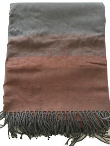 Bedding Heaven® Grey and Burnt Orange Striped Blanket / Throw 130 x 150 cm