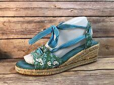 LAND'S END Wmn sz 8 Blue Floral Ankle Tie Espadrille Wedge Heels Sandals Shoes