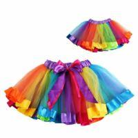 Toddler Baby KidS GirlS Rainbow Bow Tutu Skirt Tulle Dance Ballet Dress Costume