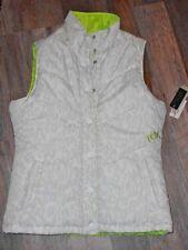 FOX RACING Women's Small Puffer Vest, Neon Green Reversible Jacket Button Front