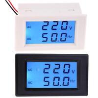 LCD Digital Dual Display AC 80-300V Voltmeter 45.0-65.0Hz Frequency Tester Meter