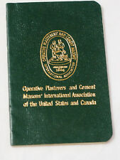 Operative Plasterers and Cement Masons of the US and Canada Membership Book