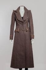 ROBERTO CAVALLI Brown Wool Shoulder Pad Army Floor Length Long Jacket Coat 4/40