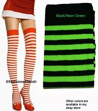 NEW NEON GREEN & BLACK STRIPED THIGH HIGH STOCKINGS - Music Legs
