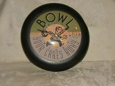 BOWL Your Cares Away Wall CLOCK 2000 Made in Hollis Maine ME Fox Clocks WORKS!
