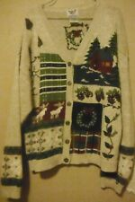 NUTCRACKER SIZE LARGE UGLY CHRISTMAS SWEATER V NECK BUTTON UP FREE SHIPPING