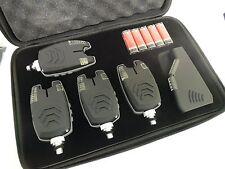 4 x Wireless bite alarms & Receiver, Running LED's, volume, tone, waterproof