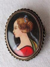 Vintage 800 Silver Frame Miniature Mini Hand Painted Lady Portrait Pin Pendant