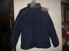 London Fog Winter Coat Fur Hood Puffer Size L 14 1/2 -16 1/2 Navy & Pink Great