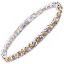 Melina Jewelry Round Cut Yellow Citrine Tennis Statement Melina Bracelet