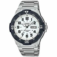 Casio Collection Quartz Blanc Cadran Argent Bracelet Homme Montre