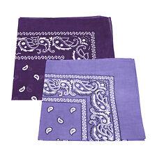 2 X patrón de Paisley Bandana Cabeza / Cuello Bufanda 100% Algodón (Light & Dark Purple)