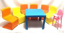 Vintage 1973 Lot 8 Barbie Pink Yellow Blue Table Chair Highchair Doll Furniture