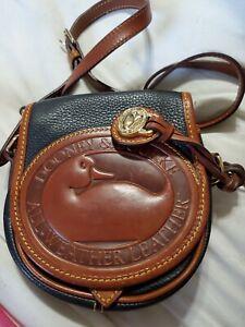 Rare Vintage Dooney and Bourke MINI  Black/ Tan Crossbody Shoulder Saddle Bag