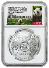 2016 China 1oz Silver Panda Official Issue Anaheim ANA NGC PF70 UCAM Panda Label