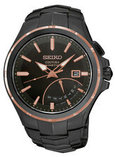 New Seiko SRN066 Coutura Kinetic Retrograde Black Ion Stainless Men's Watch