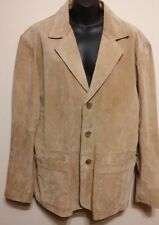 EXCELLED Women Sz M Leather Suede Look Beige Jacket Blazer L Sleeve Lined