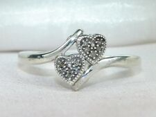 Sterling Silver .925 Diamond-.05 tcw Hearts Band Fashion Ring-Size 8.25