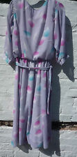 Sz 8 - 10 vintage 1970s 80s pastels dress pink tulips grey georgette polyester
