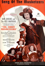 """THREE MUSKETEERS Sheet Music """"Song Of Musketeers"""" Don Ameche Ritz Brothers"""