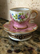Limoges France Marque Deposee Peint Main Coffee/Tea Cup And Saucer Trinket Box