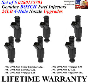 4 Bosch II Upgrade Fuel Injector Set for Jeep 2.5 96-02
