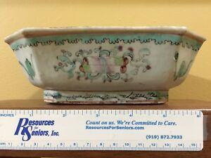 "Antique Chinese Pastel Bowl 7"" x 5"" x 2 ½"" Red Chinese Character Mark"