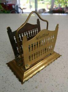 Edwardian Antique Pierced Brass Small Letter Rack / Holder