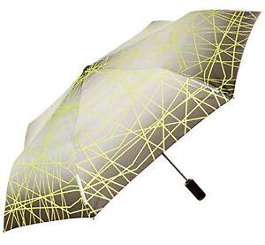 "Totes Light N' Go Traveler Umbrella With Push To Open/Close Grey/Green - 43"""