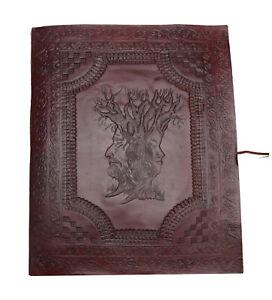 B-Ware! Stammbaum Familie Gäste- Notiz- Skizzen- Lederbuch XL Vintage Indien