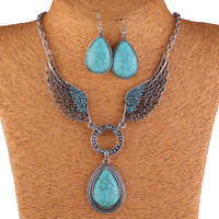 Bohemia Retro Silver Crystal Wing Turquoise Drops Pendant Necklace Chain Earring