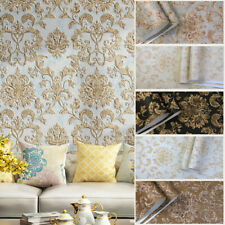 10M Vintage Luxury Gold Damask Wallpaper Deep Embossed Textured Non-woven Roll