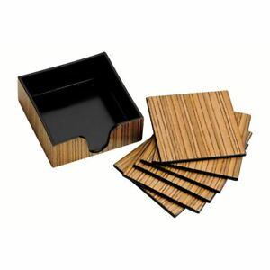 Coasters, Set of 6/Holder, Plastic/Wood Veneer