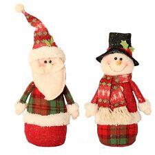 Set x 2 ROSSO PELUCHE verticale Babbo Natale e pupazzo di neve ornamenti 30cm