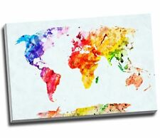 """WaterColour Painting Map Of The World Canvas Print Large A1 30x20"""""""
