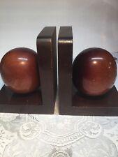 Mid Century Mahogany Mcm Wood Sphere Balls Book Ends Vintage