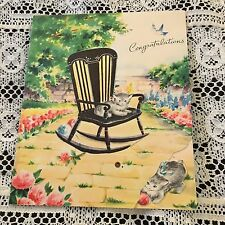 Vintage Greeting Card Congrats Chair Cat Kitten Flowers
