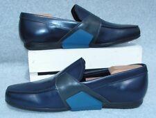 Prada Mens Spazzolato Rois Leather Loafers Shoes Baltic Blue Prada 9.5 US 10.5