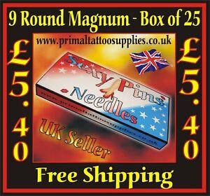 Sexy Pins Tattoo Needles 9 Round Magnum -   Box of 25  - (Tattoo Supplies)