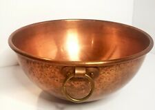 Vintage Solid Copper Mixing Bowl Brass Ring Unpolished Patina Made in France