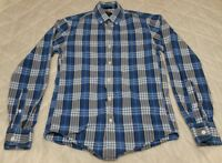 J Crew Mens Plaid Shirt Size XS Slim Fit Blue Grey Casual Button Down