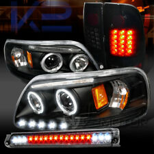97-03 F150 Halo Projector Headlights+Piano Black LED Tail Lamps+Smoke 3rd Brake