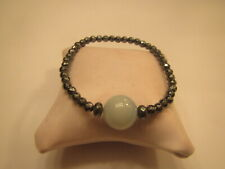 Silver Crystal  Bead Bracelet with Jade color Ball Charm ~Stretchy ~