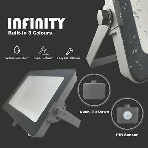 Infinity LED Floodlights Outdoor Garden Security PIR/Dusk to Dawn Sensor Lights