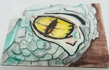 Aceo Original Mixed Media Art Dragon Eye Card Painting  Signed Schneider