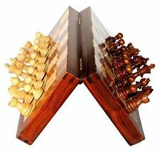 Folding Wooden Chess Game Board Set 8 inches with Magnetic Crafted Pieces