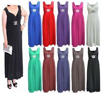 Womens Cocktail Buckle Plus Size Maxi Dress Ladies Wrapover Evening Long Dresses